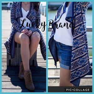 Lucky Brand blue scarf print long open cardigan S